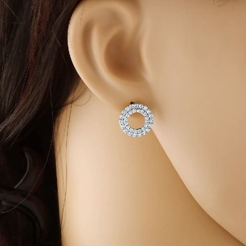 Double Circle Hollow Cubic Zirconia Studs