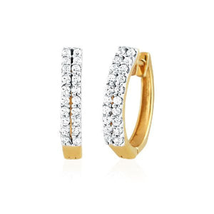 Double row Cubic Zirconia Hoop Earrings