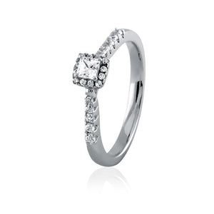 Embellished Princess Cut Diamond Frame Engagement Ring