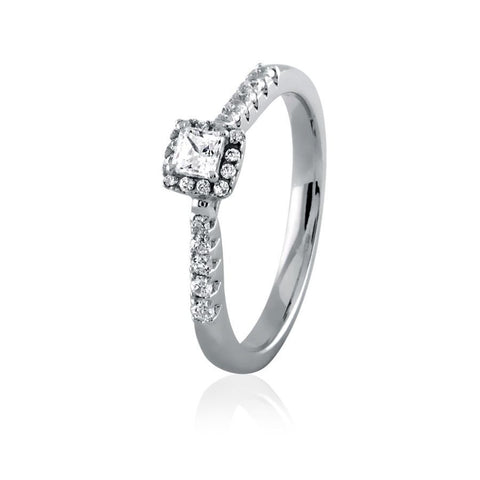 Image of Embellished Princess Cut Diamond Frame Engagement Ring