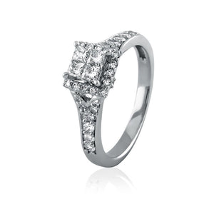 Embellished Princess Quad Diamond Engagement Ring