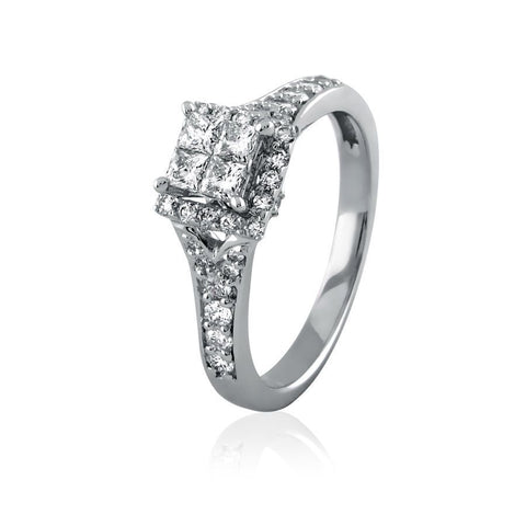 Image of Embellished Princess Quad Diamond Engagement Ring