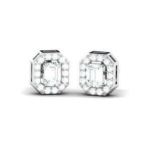 Emerald Cut Diamond Halo Studs(0.66 ct t.w)