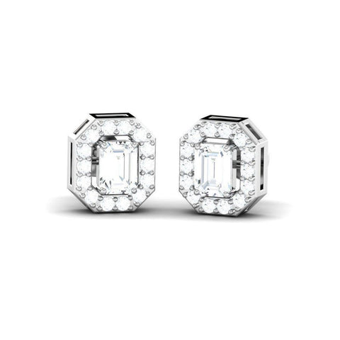 Image of Emerald Cut Diamond Halo Studs(0.66 ct t.w)