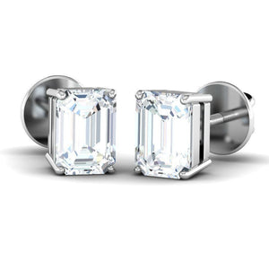 Emerald Diamond Solitaire Studs (1 ct t.w)