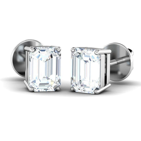 Image of Emerald Diamond Solitaire Studs (1 ct t.w)