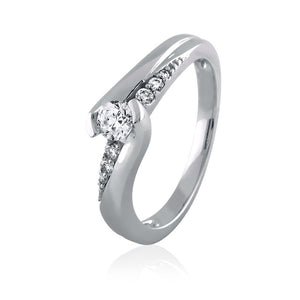 Enhanced Diamond Solitaire Bypass Shank Ring