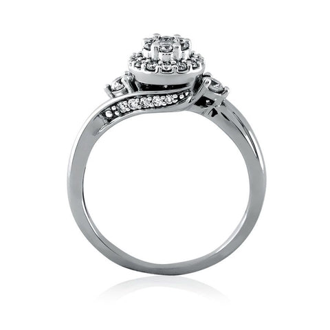 Enhanced Framed Cluster Diamond Engagement Ring