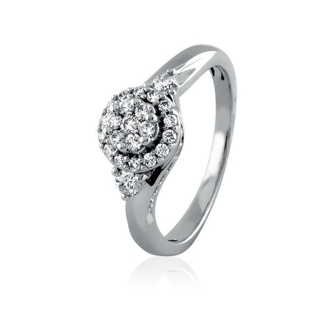 Image of Enhanced Framed Cluster Diamond Engagement Ring