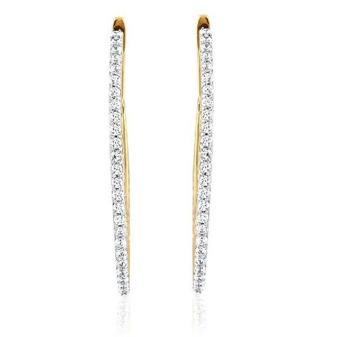 Filigree Oval Cubic Zirconia Hoops
