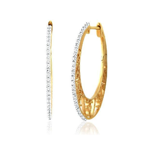 Image of Filigree Oval Cubic Zirconia Hoops