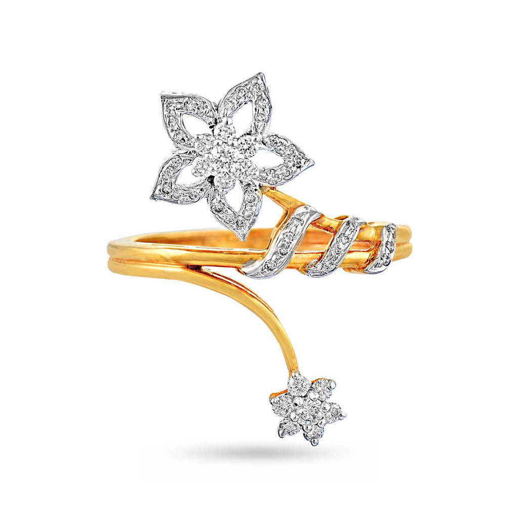 Floral Bypass Diamond Ring