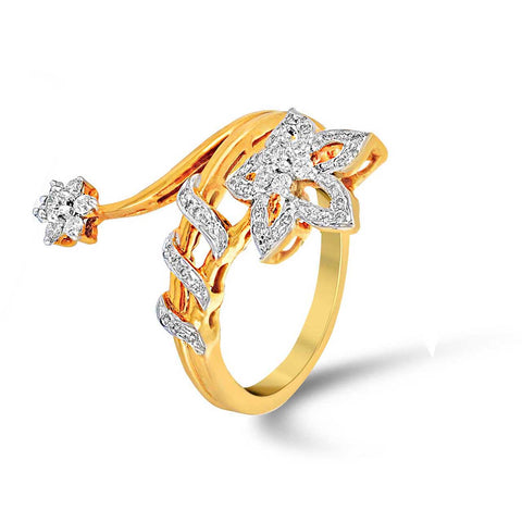 Image of Floral Bypass Diamond Ring