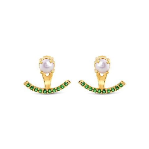Green and Pearl Arc Earrings