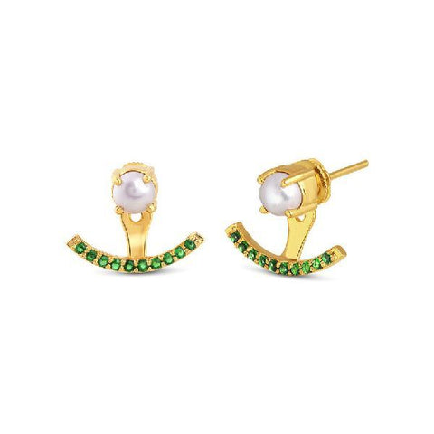 Image of Green and Pearl Arc Earrings