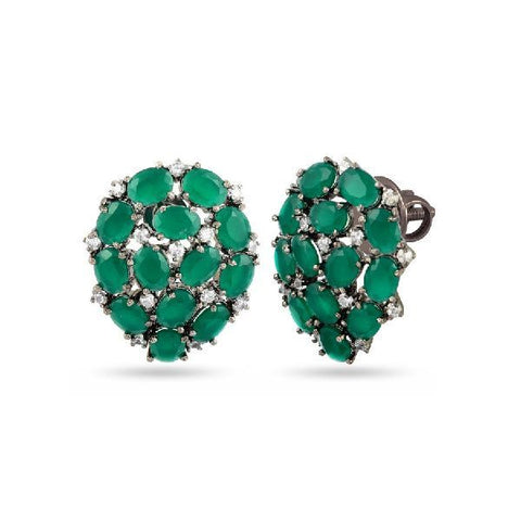 Green Cluster Stone Earrings