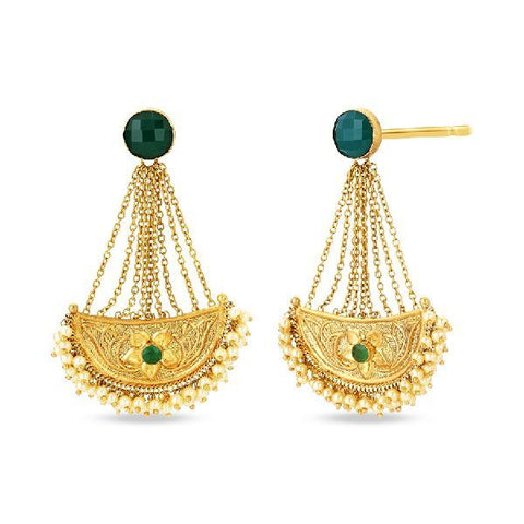 Image of Green Stone Chain Earrings