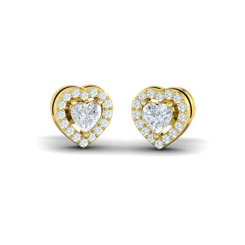 Heart Diamond Halo Studs(0.66 ct t.w)