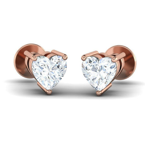 Image of Heart Diamond Solitaire Studs (0.2 ct t.w)