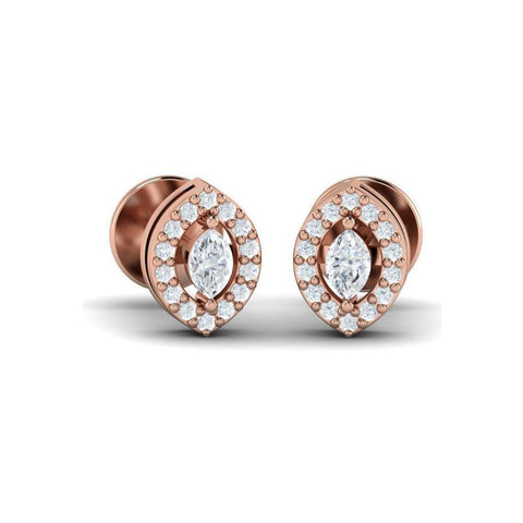 Image of Marquise Diamond Halo Studs(0.34 ct t.w)