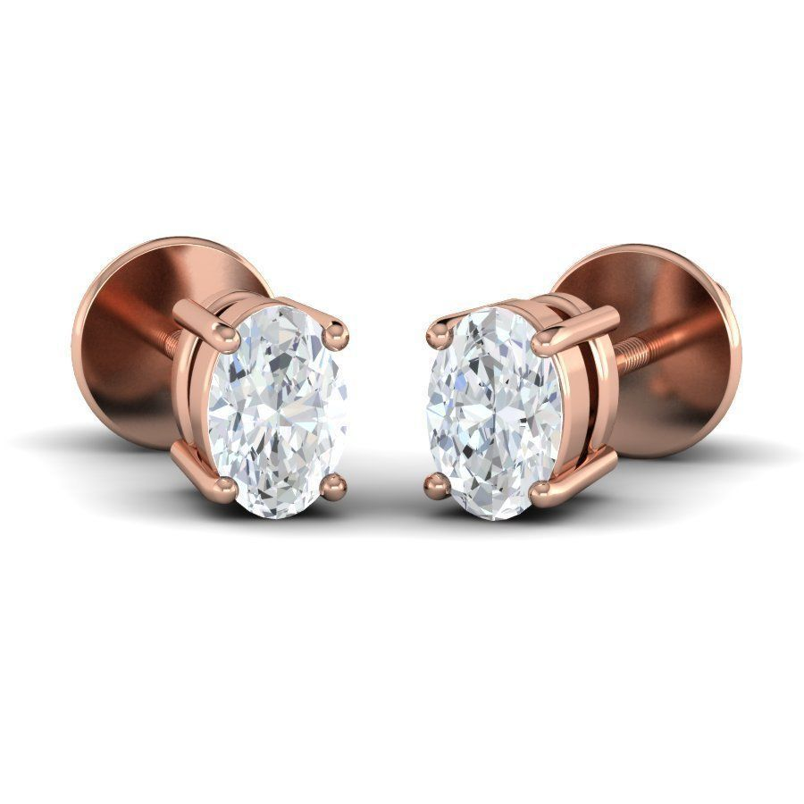 Oval Diamond Solitaire Studs (0.20Ct T.W)