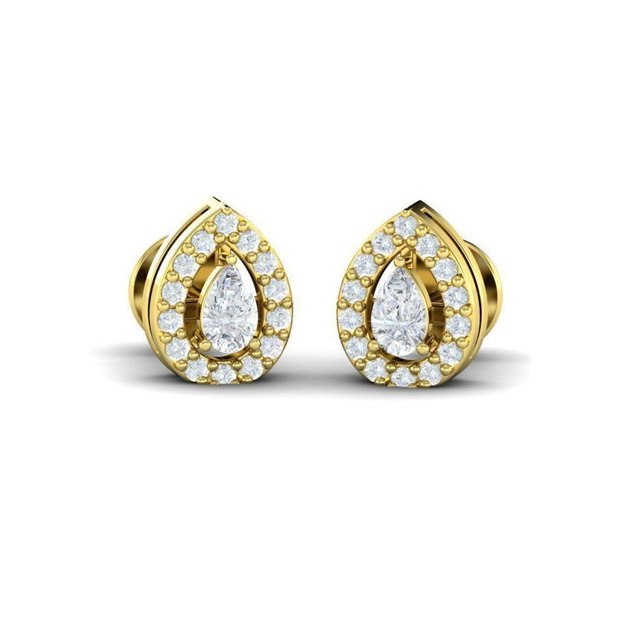 Pear Diamond Halo Studs(0.34 ct t.w)