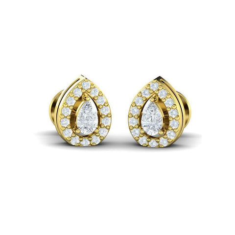 Image of Pear Diamond Halo Studs(0.34 ct t.w)
