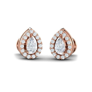 Pear Diamond Halo Studs(0.74 ct t.w)