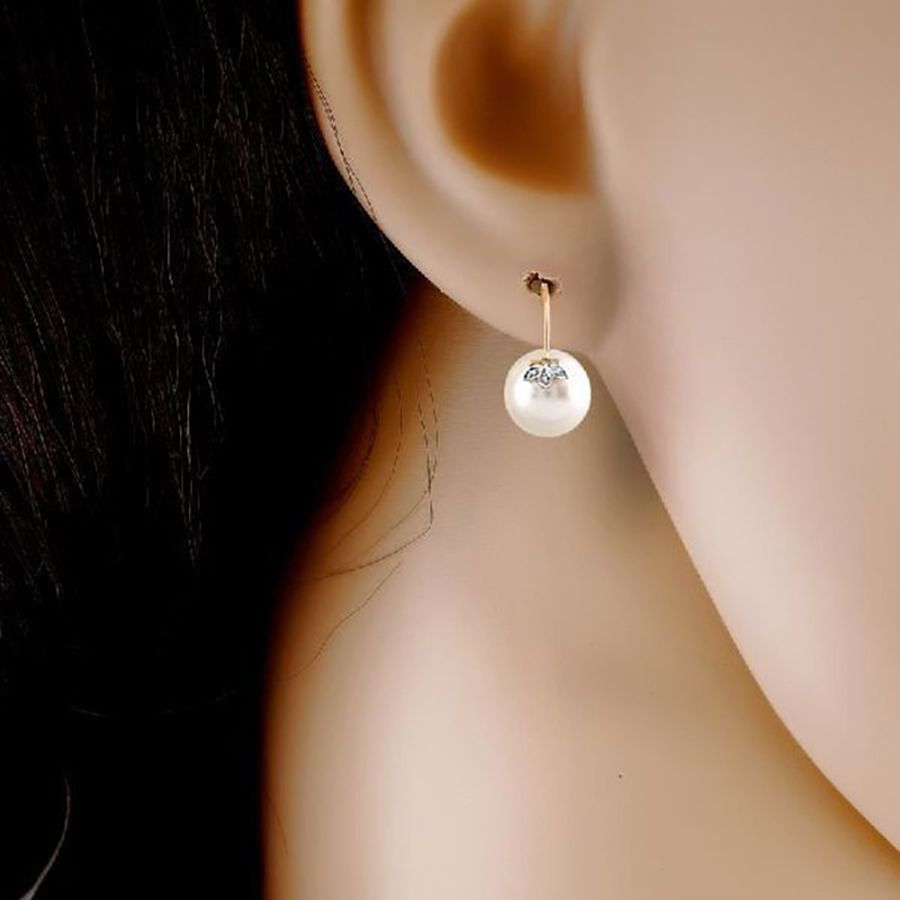 Pearl and Diamond Accent Earrings