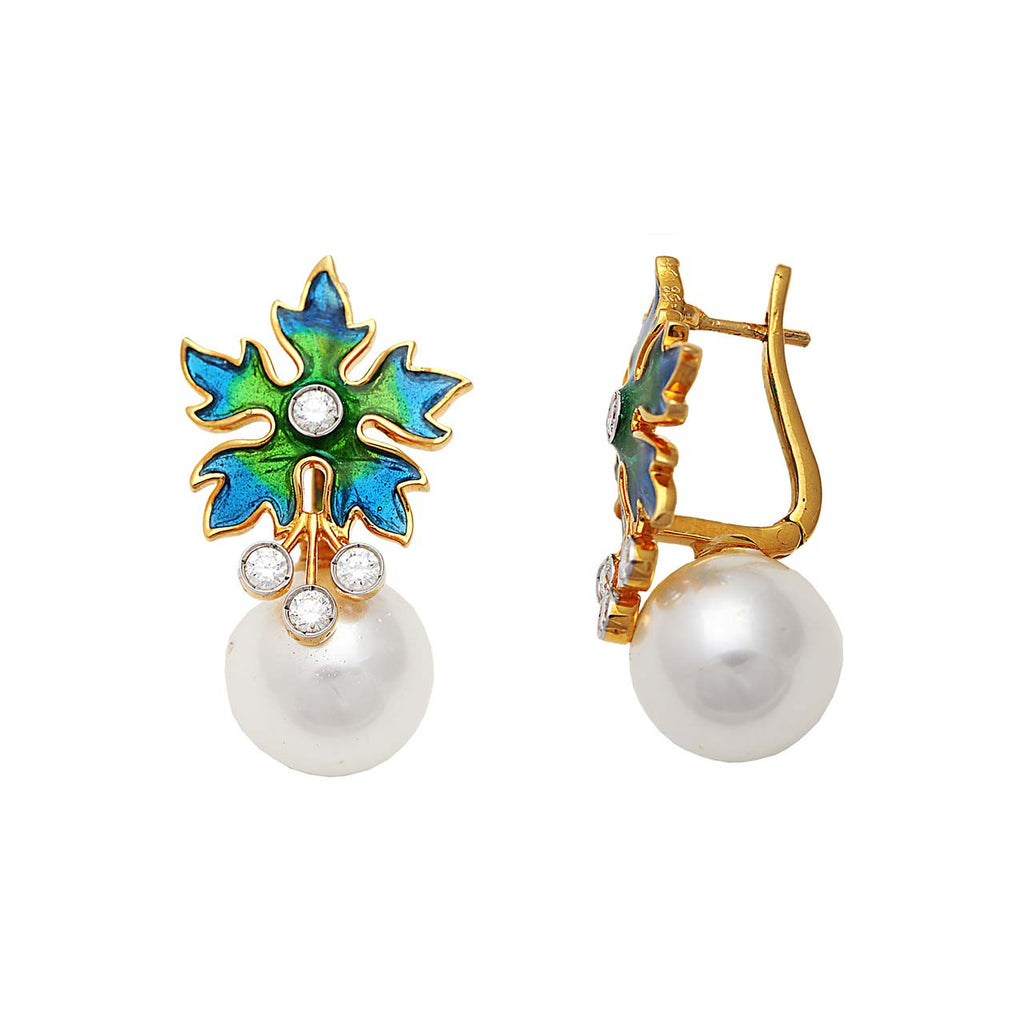 Pearl And Enamel Floral Earrings