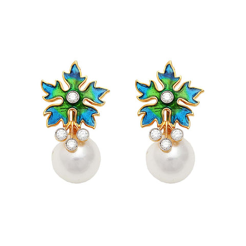 Image of Pearl And Enamel Floral Earrings