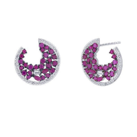 Pink With White Zircon Earrings