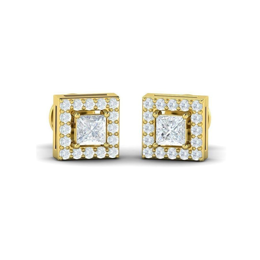 Princess Diamond Halo Studs(0.69 ct t.w)