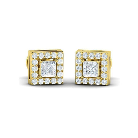 Image of Princess Diamond Halo Studs(0.69 ct t.w)