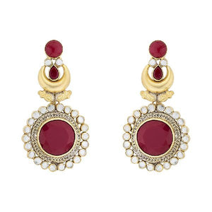 Red Circular Long Earrings