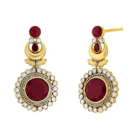 Image of Red Circular Long Earrings