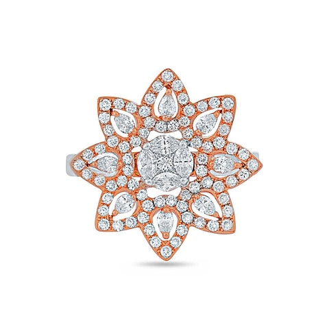 Image of Rose Gold Diamond Flower Ring