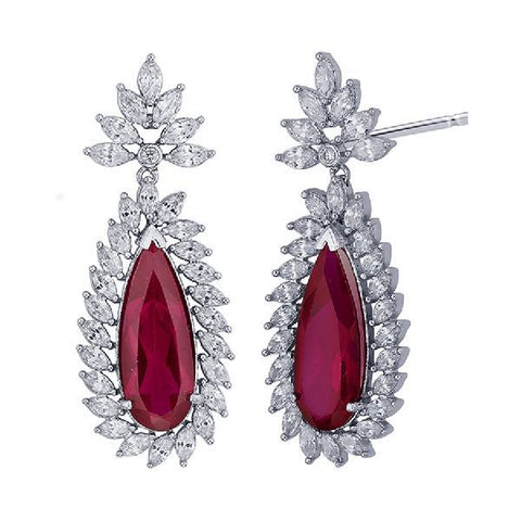Image of Ruby Whitegold Flower Hanging Earrings
