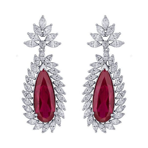 Ruby Whitegold Flower Hanging Earrings
