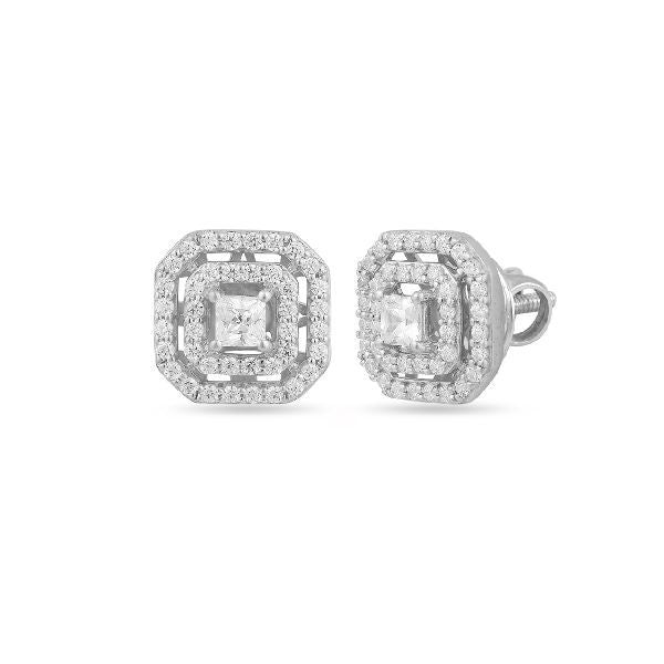 Silver and Cubic Zirconia Trendy Studs and Tops
