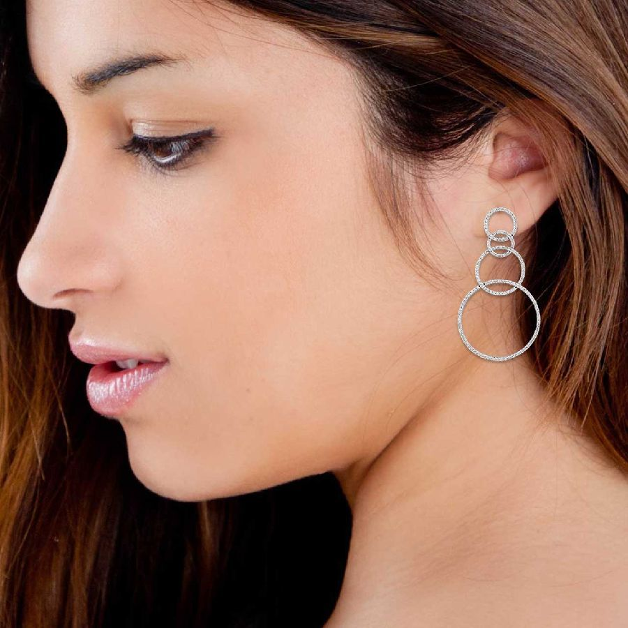 Silver and Cubic Zirconia Fashion Danglers and Drops