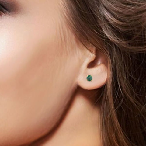Image of Silver and Emerald Ethnic Studs and Tops
