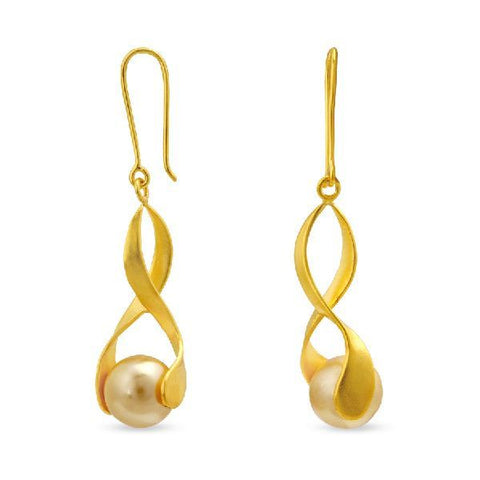 Image of Silver and Fashion Pearl Modern Danglers and Drops