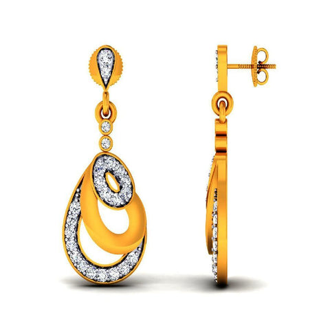 Image of Stylish Danglers and Drops in Yellow Gold
