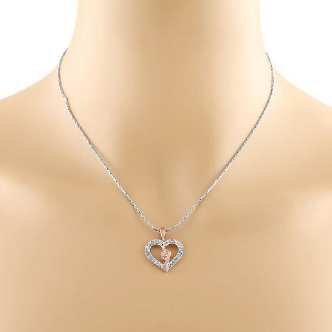 Image of Trio Cubic Zirconia Accent Heart Pendant