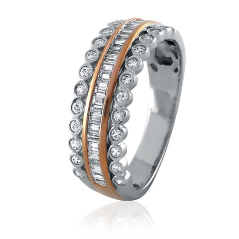 Two Tone Baguette-Diamond Eternity Band