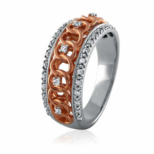 Two Tone Knot Diamond Eternity Band