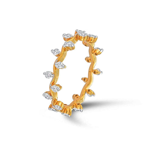 Yellow Gold Studded Thin Band Ring