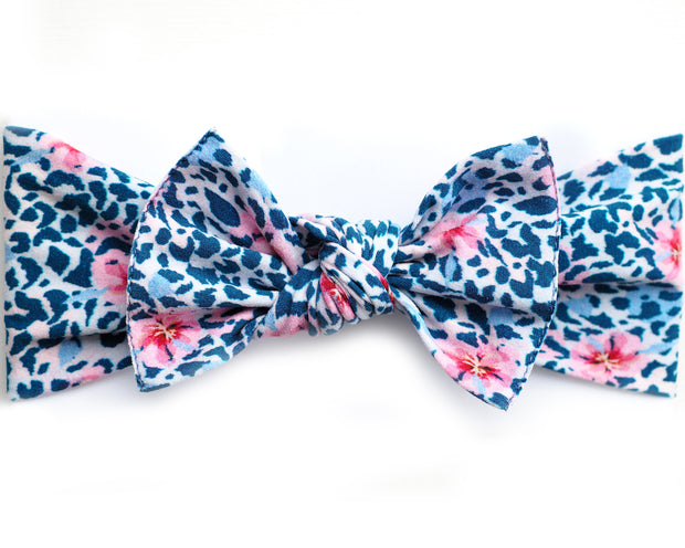 Navy Leopard Floral Pippa Bow