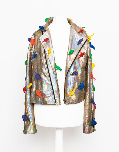 bespoke colourful dinosaur holographic jacket perfecto clothing